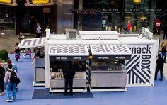 aedifica: shipping container snackbox in times square - designboom | architecture