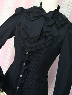 The bib is a bit much but I like the style Victorian Goth, Gothic Lolita, Victorian Fashion, Gothic Fashion, Vintage Fashion, Victorian Blouse, Steampunk Clothing, Steampunk Fashion, Mode Lolita