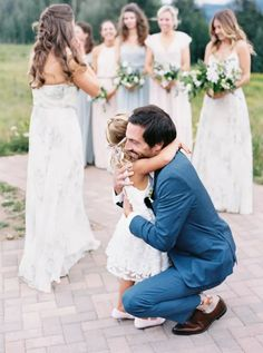flower girl hug Wedding Bride, Wedding Events, Wedding Day, Maid Of Honour Dresses, Maid Of Honor, Flower Girl Outfits, Flower Girls, Crested Butte Colorado, Hand Painted Cakes