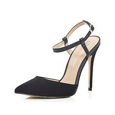 Black snake print strappy court shoes £50.00