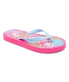 Light Blue & Pink Butterfly Flip-Flop