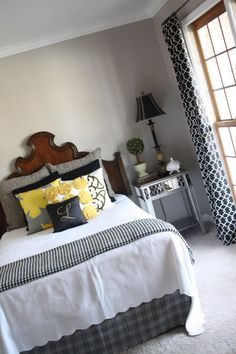 Sherwin Williams amazing gray -- bedroom walls at Decorating the Ville blogspot. ~~~