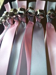 50 Ribbon Bell Wands ~ Pink & Gray ~ Wedding Ribbon Bell Wands ~ Divinity Braid ~ Send of Bells DivinityBraid http://www.amazon.com/dp/B00SMZX8VI/ref=cm_sw_r_pi_dp_O7KWub0W39N8H