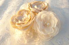 Ivory Champagne Bridal Flower Brooch OR by LudasPreciousDesigns, $12.99