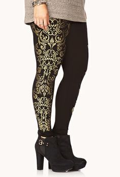 Opulent Baroque-Trimmed Leggings   FOREVER21 PLUS - 2000074961