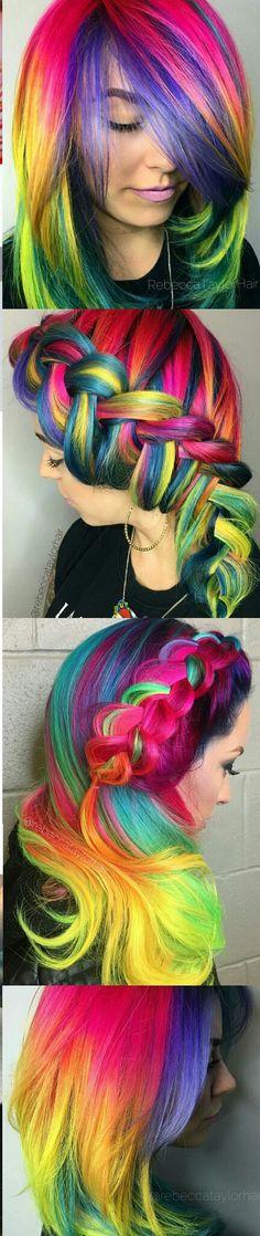 Rainbow dyed hair @rebeccataylorhair