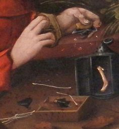 Detail of the tinderbox & firesteel in the altarpiece of the Saint Georges church in Haguenau, Bas-Rhin, France. Painting done by Diebold Martin, 15th century