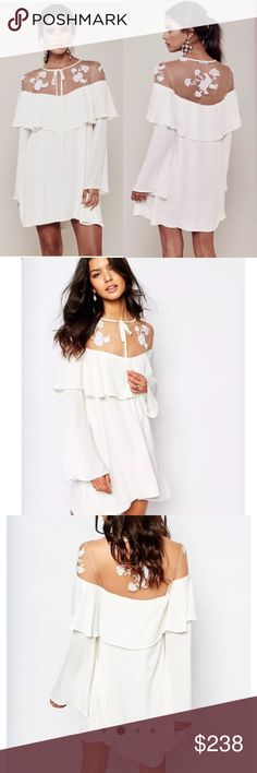 For Love and Lemons Elenora Mini Dress Gorgeous embroidered mini dress with fitted flutter sleeves and A-line hem. Flowy. Brand new with tag! For Love and Lemons Dresses Mini
