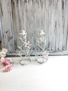 Vintage Pink and Mint Rose Italian Candle Holder, Ornate Floral Candleholder, Taper Candleholder, Shabby Chic Candles French Cottage Decor, Shabby Chic Cottage, Shabby Chic Candle, Vintage Pink, Vintage Italian, Nursery Decor, Bedroom Decor, Candlestick Holders, Soft Colors