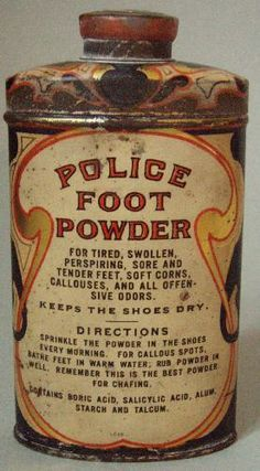 icollect247.com Online Vintage Antiques and Collectables - ULTRA RARE POLICE POWDER ADVERTISING TIN NOS, FULL, NEARMINT
