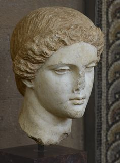 Head of Aphrodite. Marble. Copy of the 2nd century CE after a Greek original of the 5th cent. BCE. Inv. No. T-246. Corinth, Archaeological Museum of Ancient Corinth