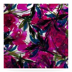 "East Urban Home 'Floral Fiesta' Watercolor Painting Print on Metal in Magenta Size: 10"" H x 10"" W x 1"" D"