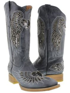 Cowboy Professional  Womens Wings with Heart Denim Blue Leather Cowboy Boots with Silver Sequin Size 8 ** You can get more details by clicking on the image.(This is an Amazon affiliate link and I receive a commission for the sales)