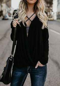 Black Cut Out Long Sleeve V-neck Going out T-Shirt 1c53153b3