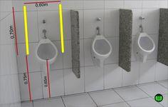 foto de como deveria ser um mictório acessível com barras paralelas na vertical Bathroom Floor Plans, Bathroom Plumbing, Bathroom Flooring, Pub Interior, Interior Design Kitchen, Bathroom Interior, Wc Public, Toilet Plan, Ideas Baños