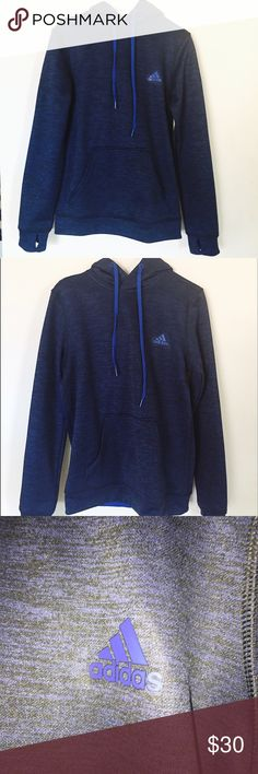 NWOT adidas blue thermal fleece hoodie amazing quality, super soft and comfortable climawarm adidas hoodie PERFECT CONDITION adidas Sweaters Crew & Scoop Necks