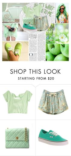 """GREEN CONTEST"" by bvbarmy-jaseyrae ❤ liked on Polyvore featuring moda, Chanel y Vans"