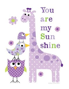 Kids Wall Art- purple you are my sunshine animals print- nursery decor