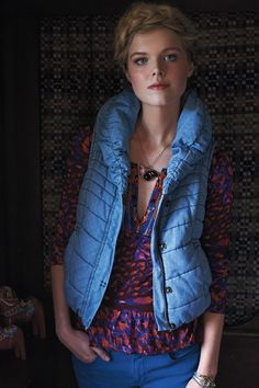 Baby, it's cold outside. #PindotChambrayPufferVest #Anthropologie #GiveGreat