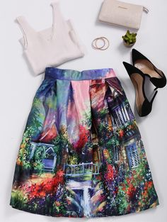Ornate Print High Waisted Skirt - COLORMIX ONE SIZE