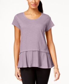 Style & Co Layered-Look Peplum T-Shirt, Only at Macy's - Tan/Beige XS