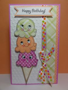 Hello everyone! I have a quick card to show you today. I just LOVE the fun bright colors in this card and of course the too cute to eat ic...