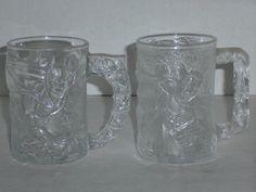 1995 McDonalds Batman Forever Batman & Robin Collectible Glass Mugs Cups #McDonalds