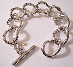 Monet Curb Link Bracelet Silver Tone Vintage Toggle Bar Large Chain