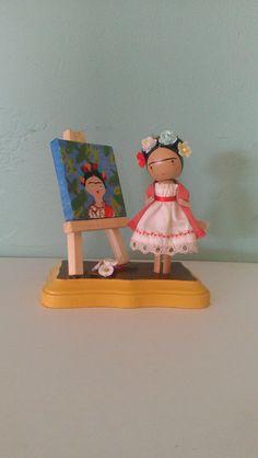 Frida Kahlo Clothespin Doll - MADE TO ORDER. $40.00, via Etsy.