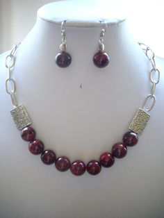 Burgandy/Black Marble Jasper Necklace with by DesignsbyPattiLynn, $50.00