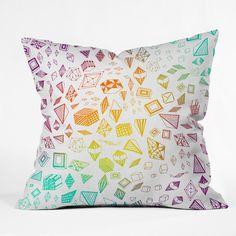Iveta Abolina Colorful Crystals Throw Pillow #rainbow #color #home #decor #unique
