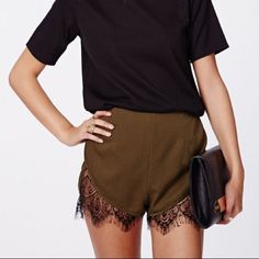 Missguided Granada Lace Hem Runner Shorts NWT. best fit for a medium or large. color is khaki. NO TRADING NO PAYPAL Missguided Shorts