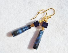 Navy blue Czech glass and gold earrings  SOLD