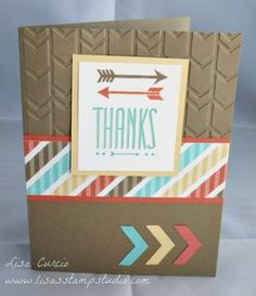 """Pointed Thanks"" Hip Notes, Geometrical, Chevron punch, Retro Fresh, Arrows Embossing Folder, Big Shot, Occasions Catalog"
