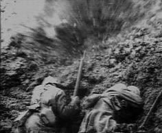 Verdun 1916, soldiers take cover from artillery shell burst captured on film