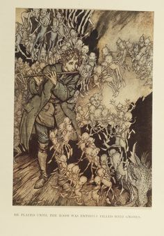 """""""He played until the room was entirely filled with gnomes."""" The Gnomes, from The Grimm's Fairy Tales, illustration by Arthur Rackham Arthur Rackham, O Grimm, Brothers Grimm Fairy Tales, Pop Art, Ecole Art, Fairytale Art, Art Moderne, Book Illustration, Antique Illustration"""