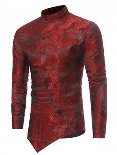 Mandarin Collar Asymmetrical Hem Paisley Shirt