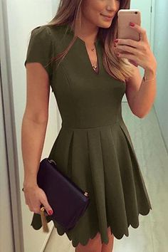 Army Green V-neck Dress with High-waisted Design homecoming dress Short Graduation Dresses, Grad Dresses, Homecoming Dresses, Sexy Dresses, Cute Dresses, Casual Dresses, Fashion Dresses, Short Sleeve Dresses, Short Sleeves