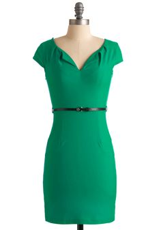And We're Live Dress in Green - Mid-length, Green, Solid, Pockets, Work, Sheath / Shift, Cap Sleeves, Fall, Belted