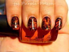 Halloween Saran Wrap Manicure