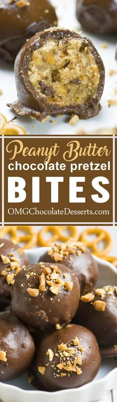 These easy no-bake chocolate peanut butter pretzel bites are sweet and salty dessert and so delicious snack. These yummy little bites are so addictive! #dessert #chocolate