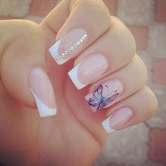 Accurate nails, Butterfly french manicure, Butterfly nail art, Dating nails, Delicate french manicure, French manicure ideas 2016, French manicure with rhinestones, Luxury nails