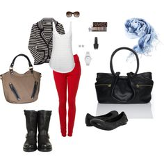 """""""red jeans/ striped jacket"""" by lonek8 on Polyvore"""