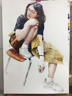 Watercolor Portraits, Featured Art, Fine Art, Art Diary, Painting, Figure Drawing, Human Figure, Art, Aesthetic Pictures