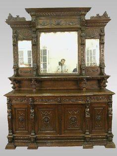 Large Antique Buffet 1880 Mechelen Carved Oak Tavern Scenes Stag Lion Gryphon Renaissance