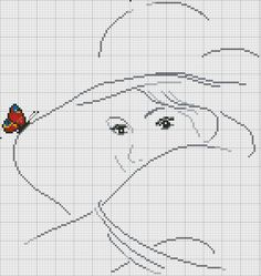 Counted cross stitch; butterfly on hat