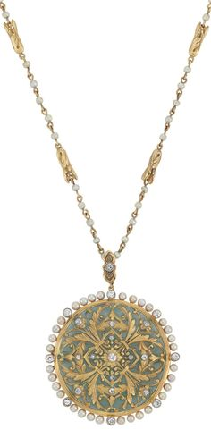 Art Nouveau Gold, Green Plique-a-Jour Enamel, Diamond and Seed Pearl Pendant-Brooch with Gold and Seed Pearl Chain Necklace   The chain composed of stylized gold leaf links spaced by 90 seed pearls approximately 2.7 mm., joined by gold links, suspending a circular pendant with gold garland decoration, applied with a green plique-a-jour enamel background, edged by 32 pearls approximately 3.0 mm., accented and tipped by 22 small old European and single-cut diamonds, circa 1900