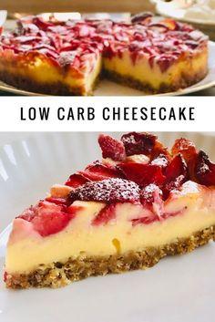 Zuckerfreier Vanille Cheesecake mit Erdbeeren - Holla die Kochfee #lowcarb #zuckerfrei #cheesecake #käsekuchen #backen