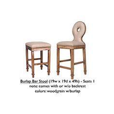 Burlap Bar Stool - Burlap - Wood Trim - Decor - Country Couture - Hand Crafted - Special Events - Lounge Appeal