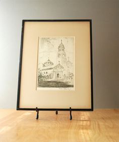 Vintage Fine Art Etching California Mission Dolores of San Francisco by Francis Todhunter